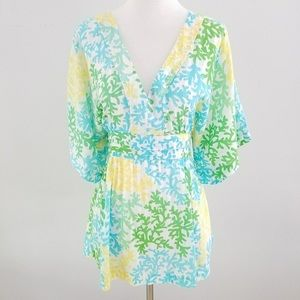 Lily Pulitzer blue green white coral print blouse